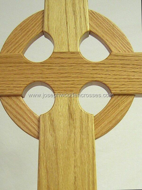 Oak Celtic Processional Cross with Decorative Oak Stand closeup detail