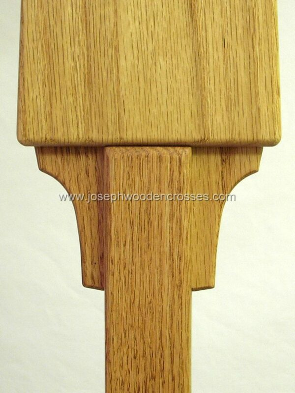 Oak Celtic Processional Cross with Decorative Oak Stand joint detail