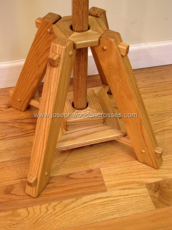 Oak Celtic Processional Cross with Decorative Oak Stand stand with pole
