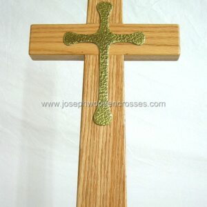 Oak Latin Processional Cross solid Brass Inlay closeup