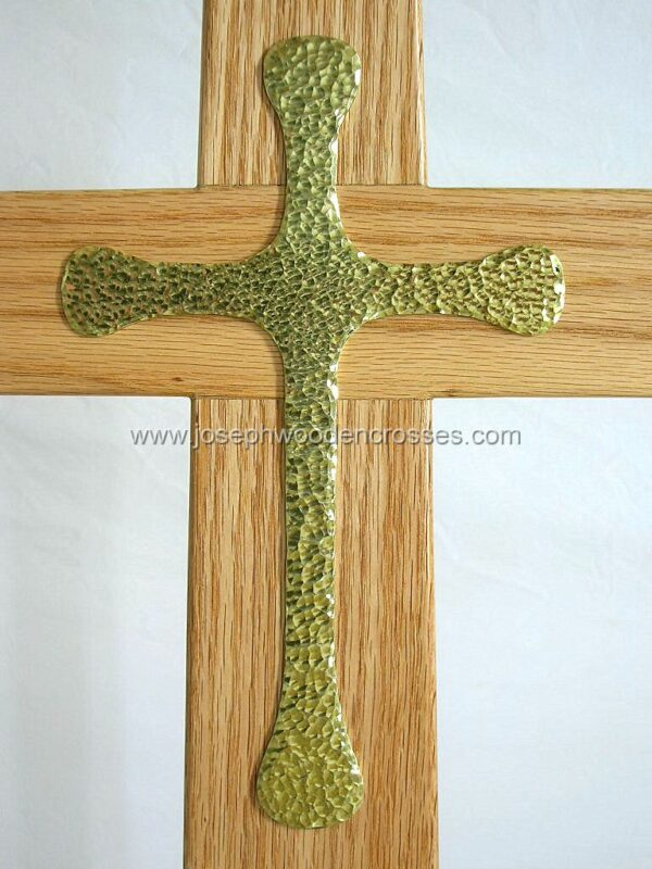 Oak Latin Processional Cross solid Brass Inlay inlay close up
