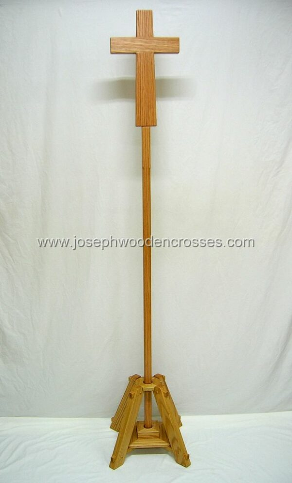 Oak Latin Processional Cross with Stand