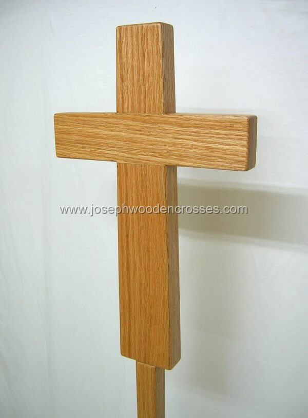 Oak Latin Processional Cross with Stand centerright