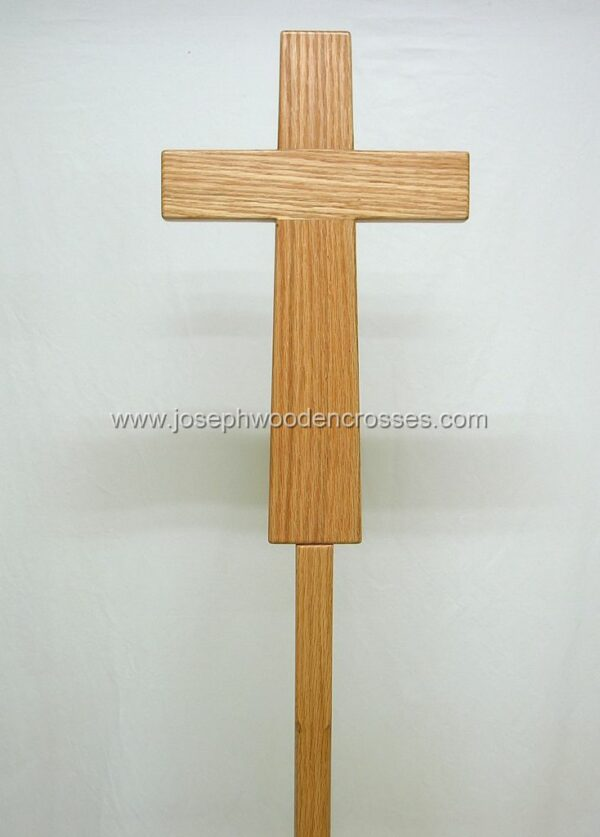 Oak Latin Processional Cross with Stand closeup