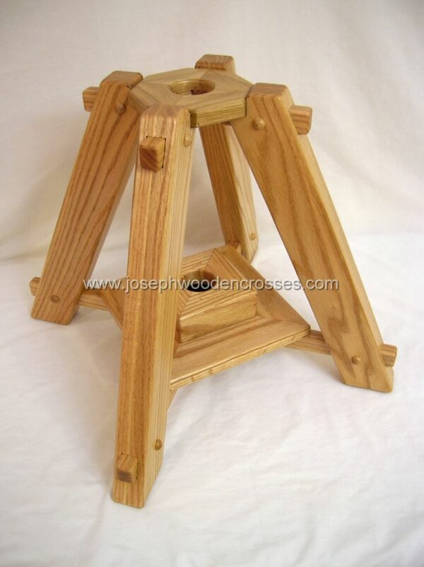 Oak Latin Processional Cross with Stand stand