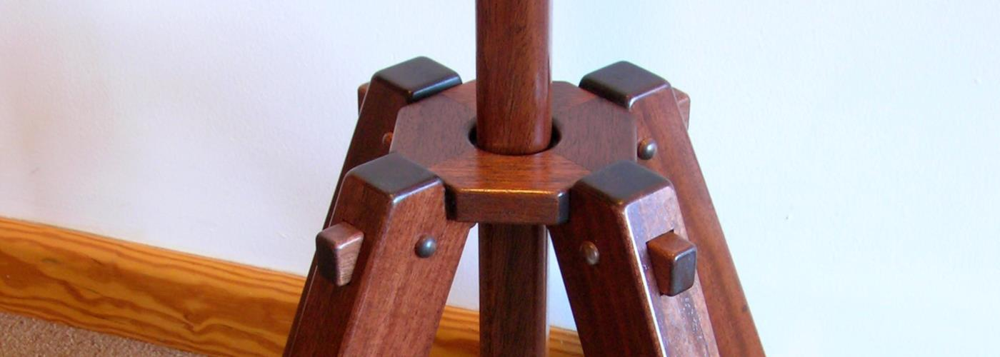 banner processional stand in mahogany